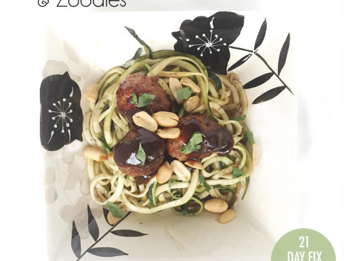 Asian Meatballs & Zoodles #21dayfix #zoodles