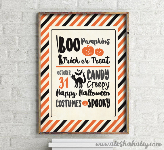 Trick or Treat Sign //Free Halloween Printables // Alesha Haley Blog #halloween #printables
